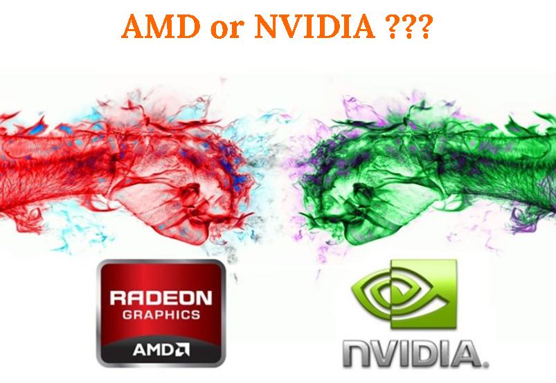 Картинка выбор видеокарт между конкурирующими AMD и Nvidia