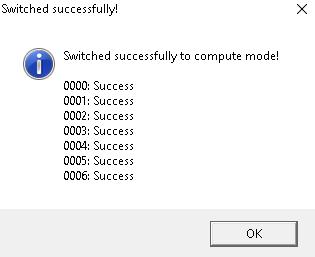 Картинка успешного переключения в режим вычислений утилитой Compute Switcher