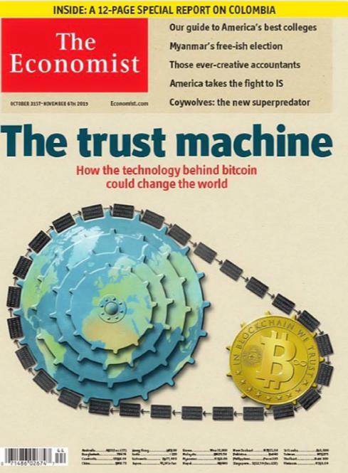 Появление биткоина на обложке журнала Economist в 2015 году