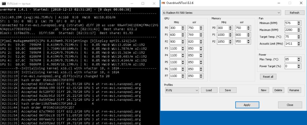 Скриншот RX580 и RX460 при майнинге Ravencoin