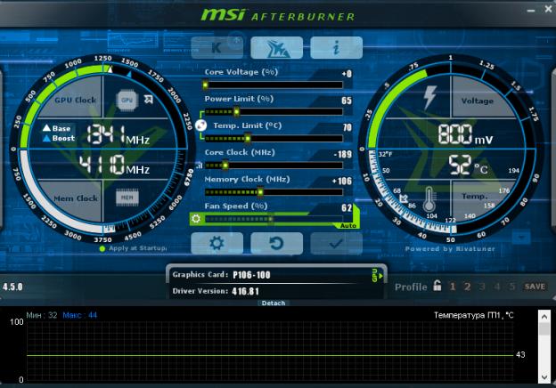 Скриншот программы MSI Afterburner при downvolting видеокарты P106-100