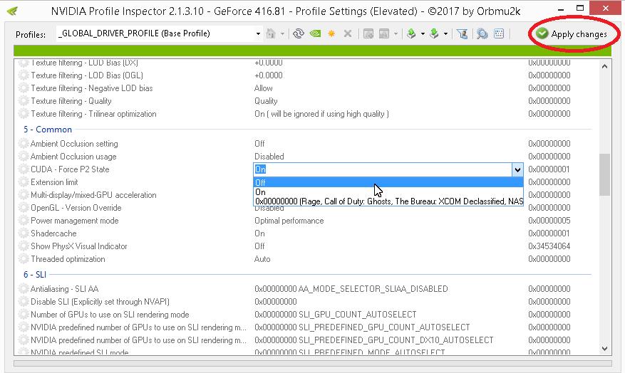 Скриншот NVIDIA Profile Inspector в разделе управления режимом CUDA - P2 State